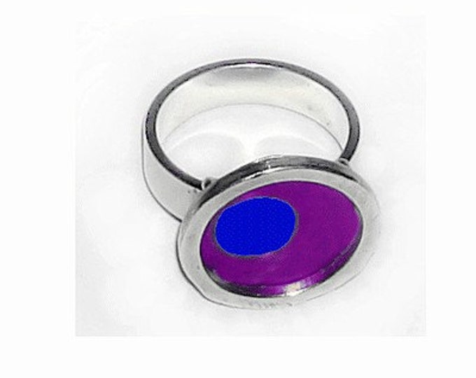 TWO TONE purple/blue silver,recycled aluminum ring