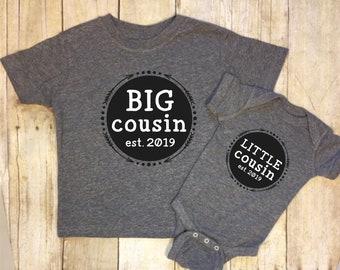 Big Cousin Little Cousin Shirt Set-Big Cousin T Shirt-Little Cousin Bodysuit-Gender Reveal-Boys Big Cousin Little Cousin-Est. 2019