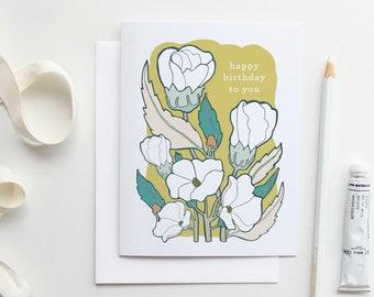 Happy Birthday Card, Floral Birthday Card, Floral Card, Floral Illustration, Botanical Bday Card Floral Card Birthday Gift for Gardener Card