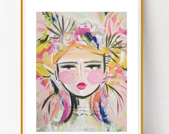 Abstract Portrait PRINT, paper or canvas, Warrior Girl, woman portrait