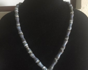 Handmade Cool Blue Gray Paper Bead Necklace