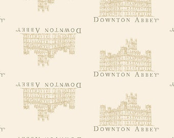"End of Bolt 1 yd 4.5"" Downton Abbey SMALL Portrait Fabric in Cream by Andover"