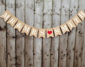 Personalised Mr & Mrs wedding bunting banner, wedding decoration