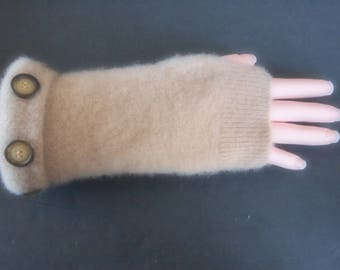 Fingerless Gloves Camel Tan Cashmere Womens