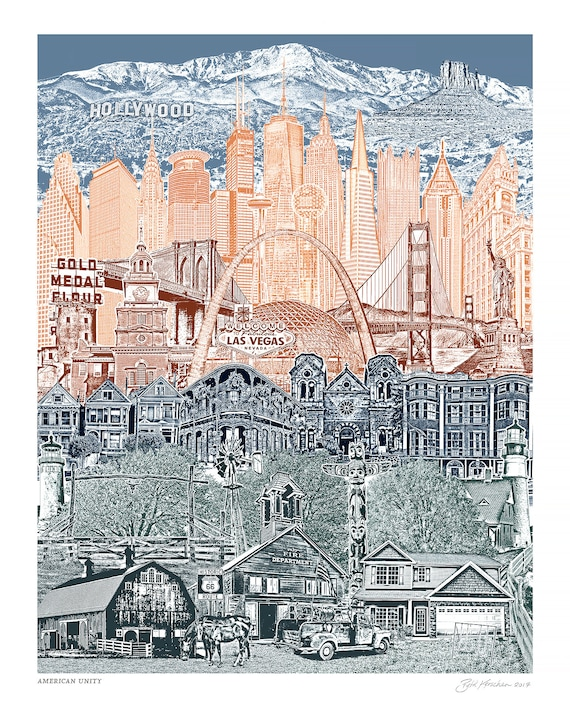 Travel America - Unity Art Print - 8.5x11, 11x14, and 16x20 Poster of USA Landmarks