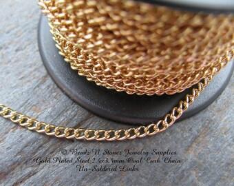 5 FEET Quality Gold Plated Brass 2.4 x 3.4mm Curb Bulk Chain