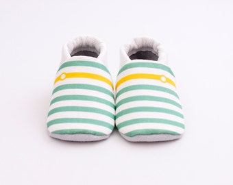 crib shoes, mint baby shoes, green baby shoes, baby slippers, soft soled shoes, Moccs, stripe baby shoes,stripes, stripe crib shoes, booties