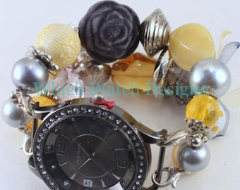 CLEARANCE Yellow Gray WATCH SET.. Yellow and Gray Beaded Watch Bracelet. Watch Face Included