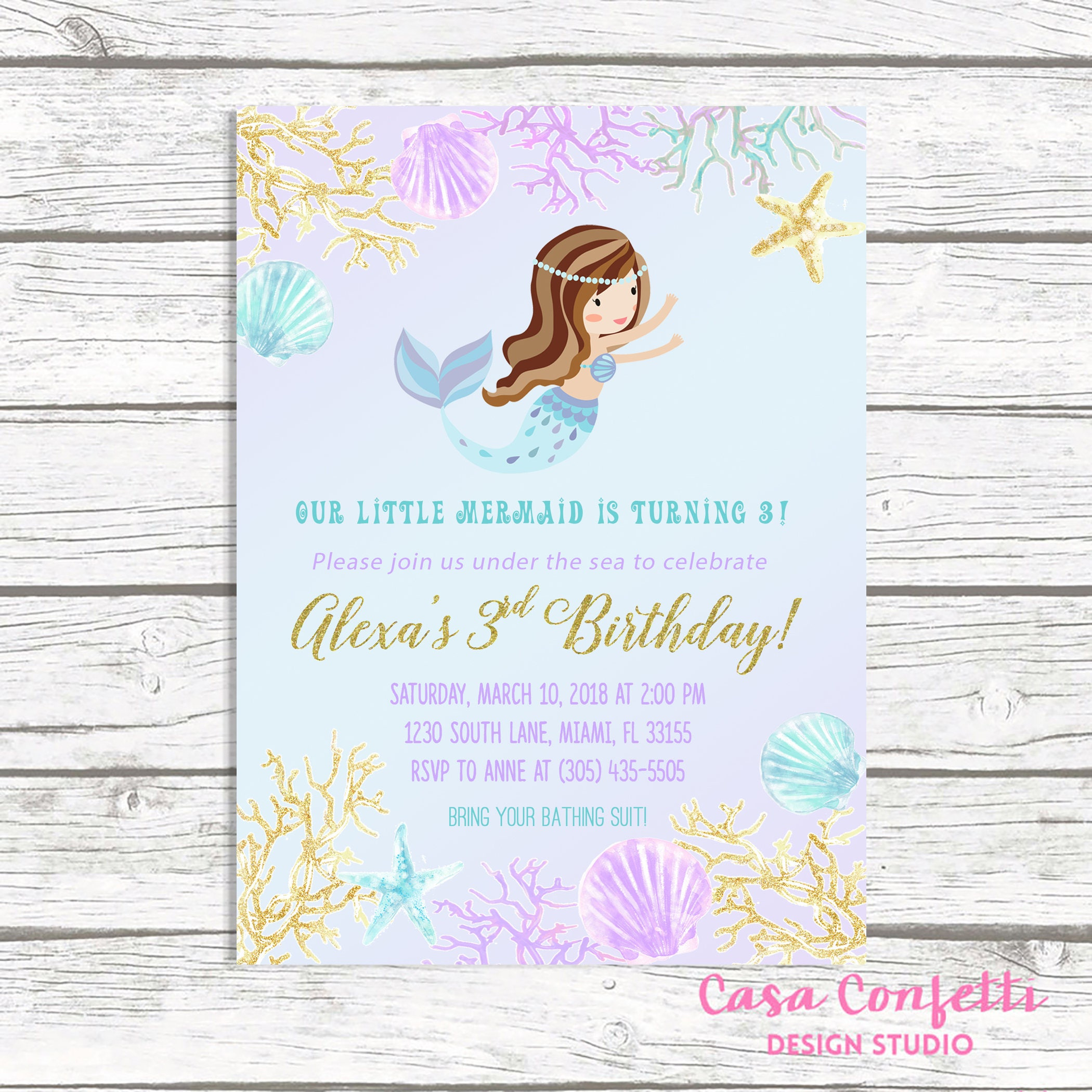 Mermaid Invitation, Mermaid Birthday Invitation, Mermaid Invite ...