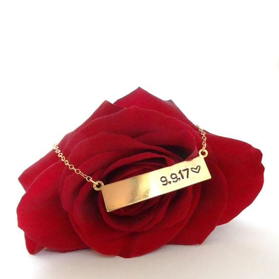 Gold Personalized Bar Necklace