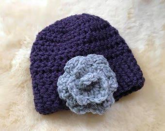 Crochet Baby Girl Hat Rosette Floral Detail Rose Newborn