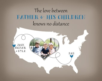 Personalized Christmas Gift for Dad, Father Birthday Gift, Father's Day Gift for Papa from Children Print Photo Map Long Distance, Poppy him