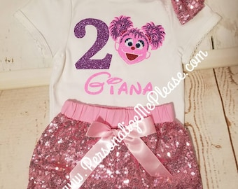 Girl Abby Cadaby Birthday Outfit, Sesame Street Birthday Outfit, First Birthday Outfit, Abby Cadaby Second Birthday Outfit, Sequin Shorts
