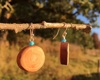 Earrings made from Madrone