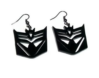 Deceptacon Earrings, Transformers, Black Laser Cut Acrylic