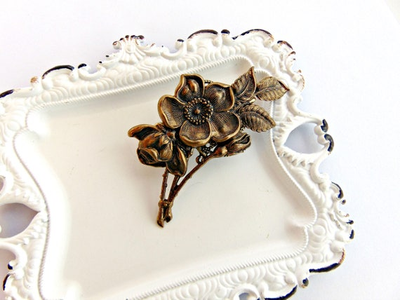 SALE Floral Hair Clip, Flower Hair clip, Floral Barrette, Flower clip, Antique Brass, Cherry Blossom, Flowering Dogwood Clip SPRING FLOWER