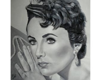 Liz Taylor portrait black and white painting original oil on canvas