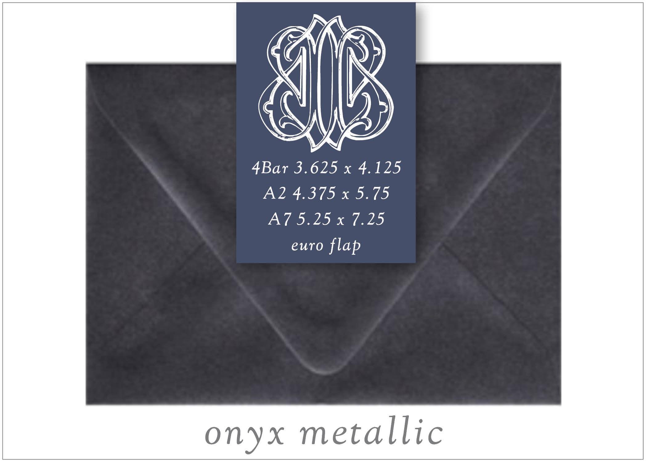 Onyx Metallic 10 Blank Euro Envelopes A7 A2 RSVP