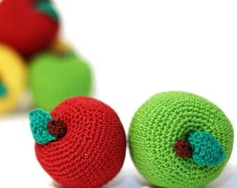 Crochet Apple Play Food Play Kitchen food Crochet Fruits  Montessori Kids Toy Crochet Pretend food Educational toy Kitchen decor Stuffed