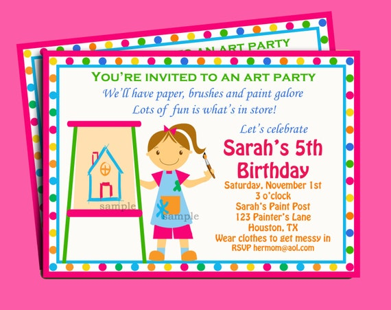 Painting art party birthday invitation printable or printed stopboris Images