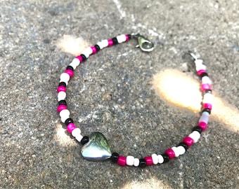Child size Pink/black/white/heart beaded handmade bracelet