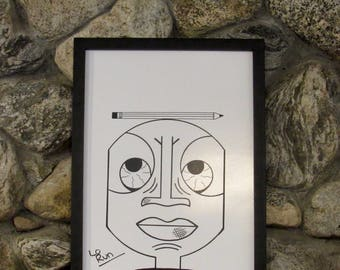 Raskog. abstract face drawing-black+white print-wall art-poster-illustration-ink