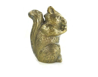 Vintage Brass Squirrel Statue or Figurine