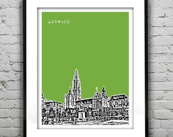 Antwerp Poster Antwerp Cathedral Belgium Art Print Skyline
