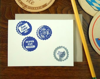 letterpress hoppy father's day bottlecaps greeting card blue silver craftbrew homebrew
