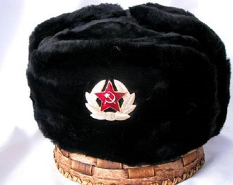 Russian military black winter HAT USHANKA  with SOVIET badge!