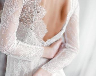 Long sleeve wedding dress, Boho wedding dress, long sleeve Lace wedding dress, vintage lace wedding dress, A line wedding dress, 0053 \\2017