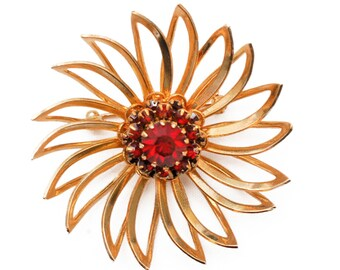 Vintage Sarah Coventry Ruby Red Rhinestone Gold Tone Flower Brooch, Deep Burgundy Line