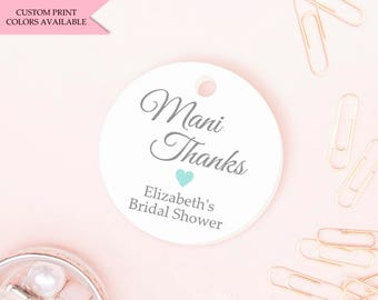 Mani thanks tags (30) - Nail polish tags - Bridal shower nail polish tags - Mini tags - Nail polish favor tags