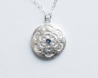 Sapphire Silver Pendant Classic Style Petite Necklace