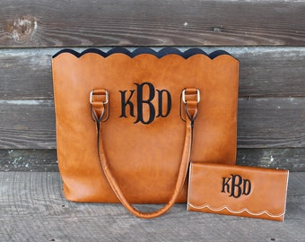 Monogrammed Scalloped Wallet- Brown- Beige- Faux Leather