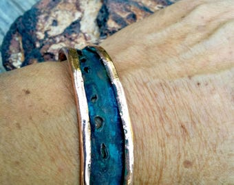 Blue Copper Bracelet. 17mm Wide. 2.7mm Thickness.Blue Patinaed.