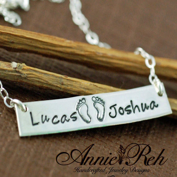 Personalized Bar Necklace, Sterling Silver Rectangular Bar, Mother Jewelry, Hand Stamped Mommy Jewelry, Baby Feet Necklace, Gift for Mom
