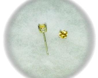 4mm Citrine Gemstones in 925 Sterling Silver Stud Earrings November Birthstone