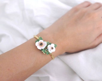 Anemone Bangle White , Flower Ring , Anemone flower