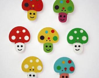 Wooden mushroom button multicolored set of 10-1816