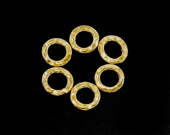 6 of Karen hill tribe 24K Gold Vermeil Style Hammered Closed Jump Rings 7 mm. :vm0945