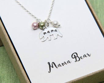 Mama Bear Necklace, Personalized Mama Bear Necklace, Sterling Silver Bear Necklace, Mom Birthstone Jewelry, Gift from Daughter, Mom Jewelry