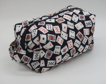 Playing Card Travel Bag, Card Players Dopp Kit, Ditty Bag, Toiletry Kit, Zip Pouch, Go Bag, Gifts for Card Players, Playing Cards