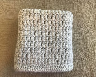 Crochet Baby Blanket, Light Gray