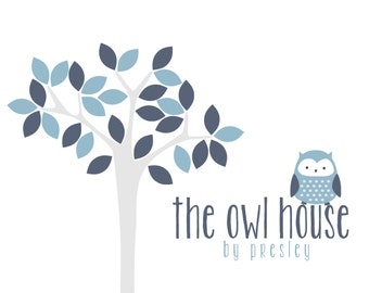 Custom Logo Design Premade Logo and Watermark for Photographers and Small Businesses Leafy Tree with Owl Whimsical Blue Tones