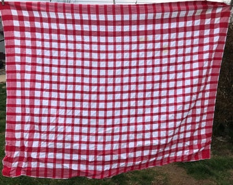 Vintage Red and White Check Linen Tablecloth