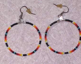 Native American Beaded Southwestern Hoop Earrings