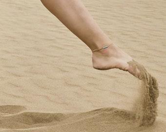 Bracelet or anklet with mini titanium beads hypoallergenic waterproof water resistant