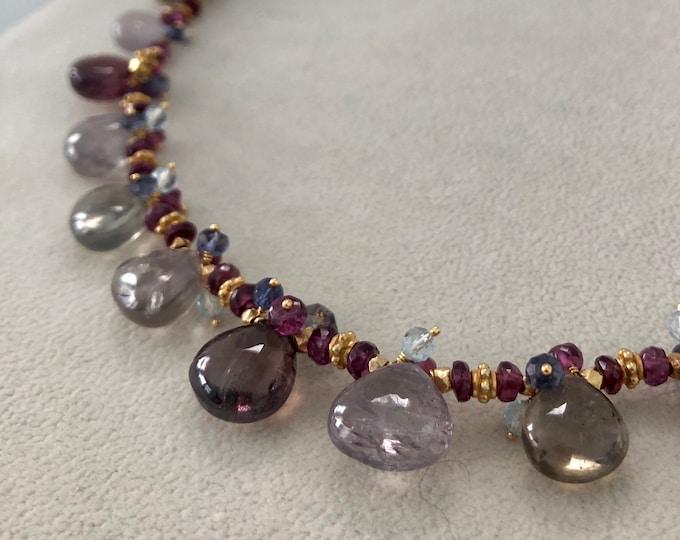 Umba Sapphire Gemstone Necklace in Gold and Rhodolite Garnet, Sky Blue Topaz and Water Sapphire Iolite