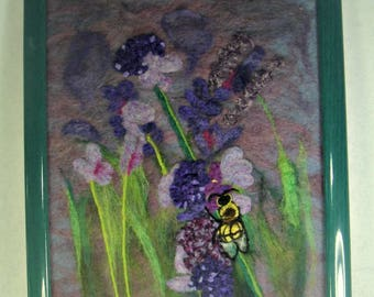 Needle Felt Painting, Lavender painting, bee painting, wool painting, wool art, needle felt art